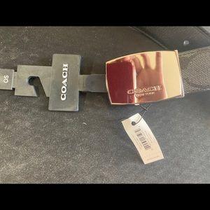 Coach dress plaque reversible belt